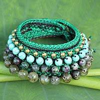 Ruby zoisite and prehnite wristband bracelet, 'Sweet Moss' - Thai Artisan Crafted Crocheted Zoisite and Prehnite Bracelet