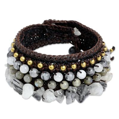 Handcrafted Tourmalinated Quartz and Labradorite Bracelet