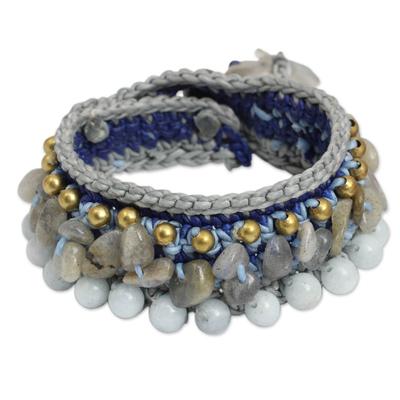 Artisan Crafted Crocheted Aquamarine Labradorite Bracelet