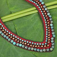 Beaded necklace, 'Tribal Paths' - Crocheted and Beaded Necklace from Thailand
