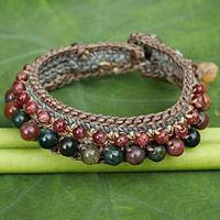 Jasper and labradorite wristband bracelet, 'Daydreams' - Crocheted Wristband Bracelet with Labradorite and Jasper