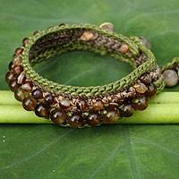 Rutilated quartz wristband bracelet, 'Daydreams' - Crocheted Wristband Bracelet with Multi Gemstones
