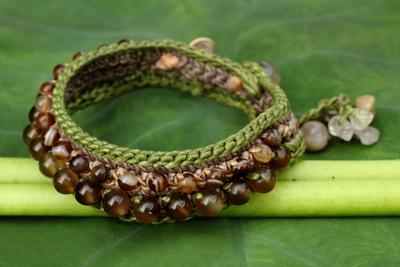 Rutilated quartz wristband bracelet, 'Daydreams' - Crocheted Wristband Bracelet with Multi Gemstones