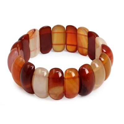 Carnelian stretch bracelet, 'Just Glow' - Carnelian Stretch Bracelet Handcrafted Jewelry