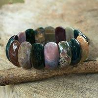 Jasper stretch bracelet, 'Just Glow' - Jasper Stretch Bracelet Handcrafted Jewelry