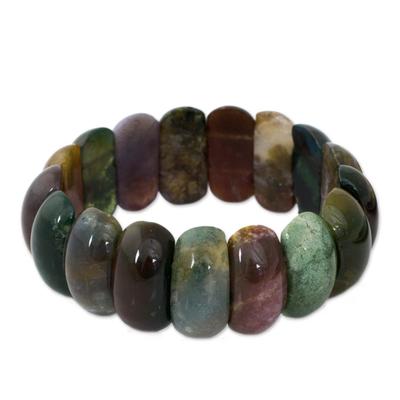Jasper stretch bracelet, 'Just Glow' - Jasper Stretch Bracelet Handcrafted Jewelry