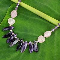 Amethyst and rose quartz beaded necklace, 'Mystical Romance' - Hand Crafted Rose Quartz and Amethyst Necklace