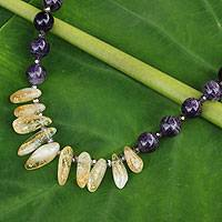 Amethyst and citrine beaded necklace, 'Purple Honey'