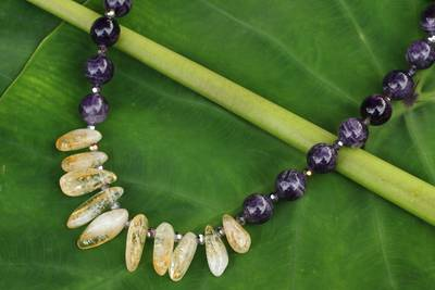 Amethyst and citrine beaded necklace, 'Purple Honey' - Beaded Amethyst and Citrine Handcrafted Necklace