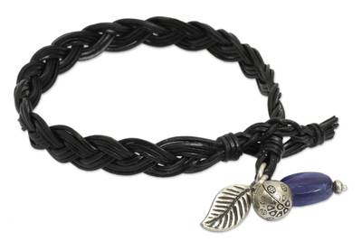 Braided Leather and Kyanite Bracelet with Hill Tribe Silver