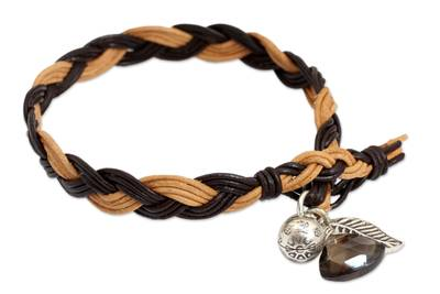 Braided Leather Smoky Quartz Bracelet with Hill Tribe Silver