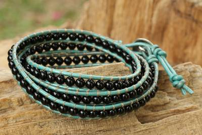 Onyx wrap bracelet, 'Inner Balance' - Onyx and Leather Wrap Bracelet Thai Artisan Jewelry