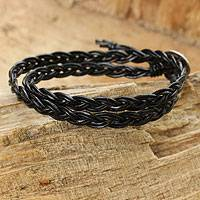 Leather wrap bracelet, 'Black Braid' - Black Braided Leather Bracelet with Hill Tribe Silver