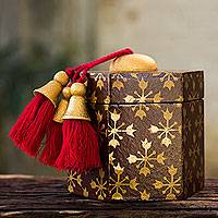 Decorative wood box, 'Brown Thai Jasmine' - Gilded Six-Sided Decorative Box