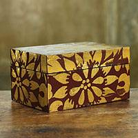 Wood jewelry box, 'Brown Chrysanthemum' - Golden Chrysanthemum Brown Jewelry Box