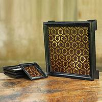 Wood tray and coasters, 'Coffee Flower' (set for 4) - Handcrafted Gold leaf Set of Tray and 4 Coasters