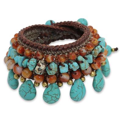 Carnelian Crocheted Beaded Wristband Bracelet