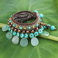 Aventurine wristband bracelet, 'Fantastic Aqua' - Knitted Bracelet with Blue and Green colour Multi-gems