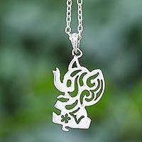 Sterling silver pendant necklace, 'Happy Elephant' - Silver Silhouette Elephant Necklace