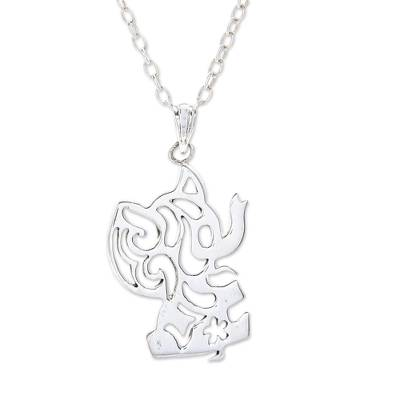 Silver Silhouette Elephant Necklace