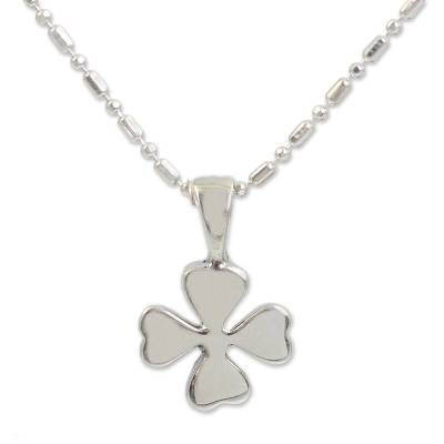 Silver Lucky 4-Leaf Clover Necklace
