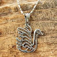Sterling silver pendant necklace, 'Mythic Thai Swan' - Silver Silhouette Elephant Necklace
