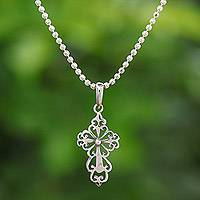 Sterling silver pendant necklace, 'Cross Silhouette'