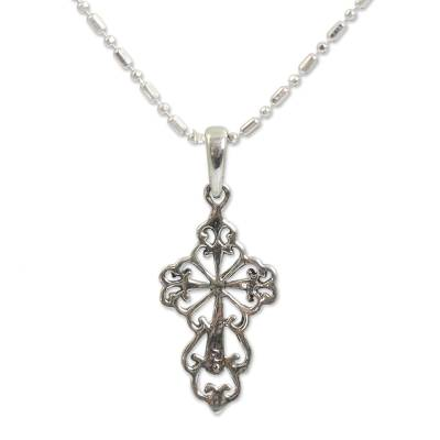 Silver Silhouette Cross Necklace