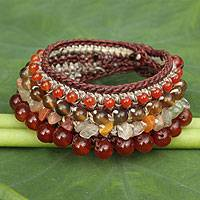 Carnelian and chalcedony beaded bracelet, 'Love's Fire' - Thai Handcrafted Carnelian and Chalcedony Bracelet