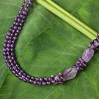 Amethyst beaded necklace, 'Lilac Sun'