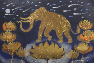 'Faith of Lanna II' - Golden Elephant and Lotuses Mixed Media Signed Painting