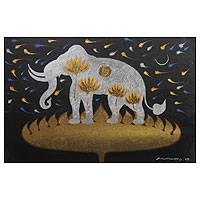 'Faith of Lanna III' - Silver Elephant on Golden Lotus Thai Signed Painting