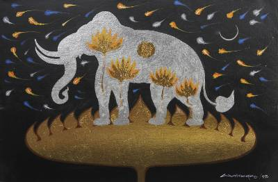 'Faith of Lanna III' - Silver Elephant on Golden Lotus Thai Signed Painting