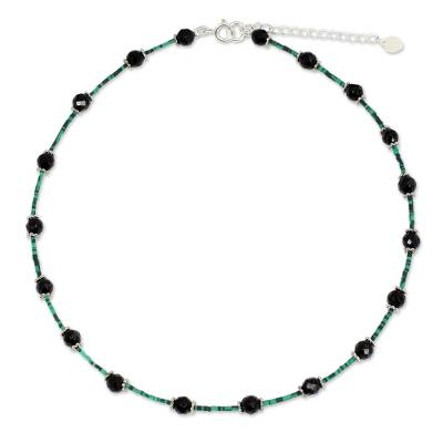 Onyx flower choker, 'Floral Nights' - Handcrafted Onyx, Calcite and Sterling Silver Choker