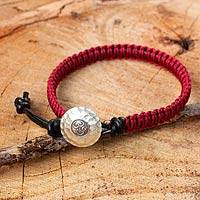 Leather and silver wristband bracelet, 'Red Om' - Red Macrame on Black Leather Bracelet with Silver Button