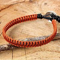 Leather and silver wristband bracelet, 'Orange Om' - Orange Macrame on Leather Bracelet with Silver Button