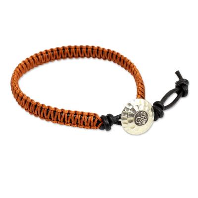 Orange Macrame on Leather Bracelet with Silver Button