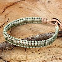 Leather and silver wristband bracelet, 'Hemlock Suns' - Silver Button and Pale Green Macrame on Leather Bracelet