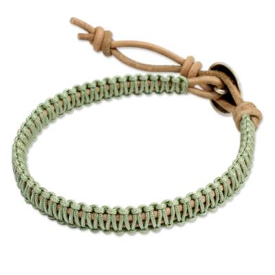 Silver Button and Pale Green Macrame on Leather Bracelet
