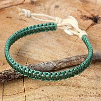Leather and silver wristband bracelet, 'Emerald Green Om' - Green Macrame on Leather Bracelet with Silver Button