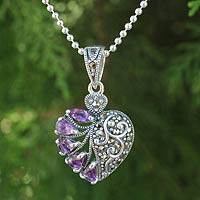 Amethyst and marcasite heart necklace, 'Spectacular Romance'