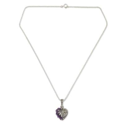 Amethyst and marcasite heart necklace, 'Spectacular Romance' - Amethyst Marcasite and Sterling Silver Heart Necklace