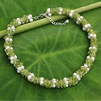 Cultured pearl and peridot beaded necklace, 'Gracious Lady' - Pearl and Peridot Hand Knotted Necklace