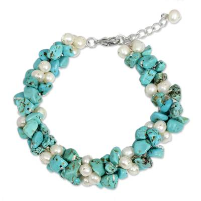 White Pearls and Blue Calcite Handmade Bracelet