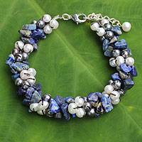 Cultured pearl and lapis lazuli beaded bracelet, 'Gracious Lady' - Handmade Lapis Lazuli and Pearl Knotted Bracelet