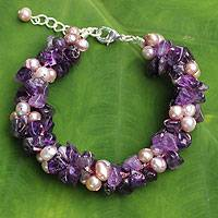 Cultured pearl and amethyst beaded bracelet, 'Gracious Lady'
