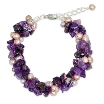Cultured pearl and amethyst beaded bracelet, 'Gracious Lady' - Pink Pearls and Amethyst Handmade Bracelet