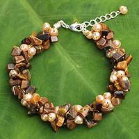 Cultured pearl and tiger's eye beaded bracelet, 'Gracious Lady'