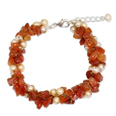 Carnelian and Pearl Bracelet Handcrafted Jewelry