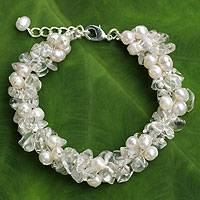 Cultured pearl and quartz beaded bracelet, 'Gracious Lady' - Quartz and White Pearls Handmade Bracelet